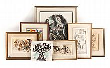 Chaim Gross. Five assorted prints, two drawings