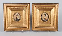 Pair of English School 19th c. miniatures