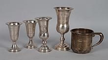 Four sterling silver Kiddush cups