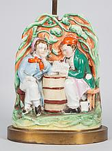 Staffordshire earthenware figural group lamp