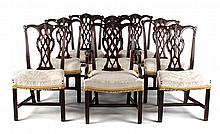 Eight Chippendale style chairs