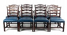 Eight Chippendale style dining chairs
