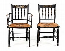 Two fancy painted wood rush-seat chairs