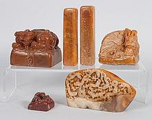 X6 Chinese carved jade or hardstone chops