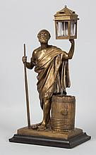 Continental bronze Diogenes figural inkwell