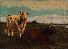 French School, 19th c. Cows in Landscape, oil