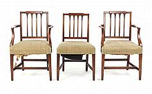Three Federal style mahogany dining chairs