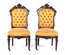 Pair of American Renaissance Revival side chairs