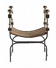 Italian Brass and iron folding curule stool