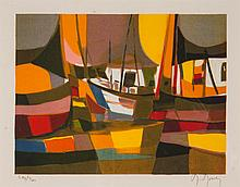 Marcel Mouly. Abstract Ships, color lithograph