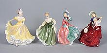 Four Royal Doulton china figures
