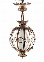 Victorian style copper hanging light fixture
