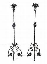 Pair of Neo-Gothic wrought iron candlesticks