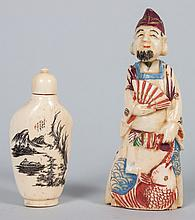Two oriental ivory snuff bottles