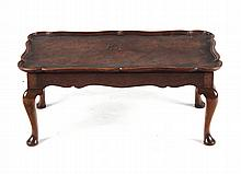 English Queen Anne style burl elm tray table