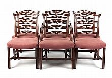 Six Federal style ladder-back dining chairs