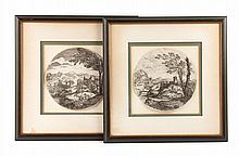 Giovanni F. Grimaldi. Pair of Landscape etchings