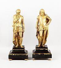 Pr of gilt bronze figures of Shakespeare&Jon; Donne