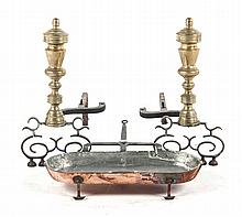 Pair of brass andirons & copper cooking pan