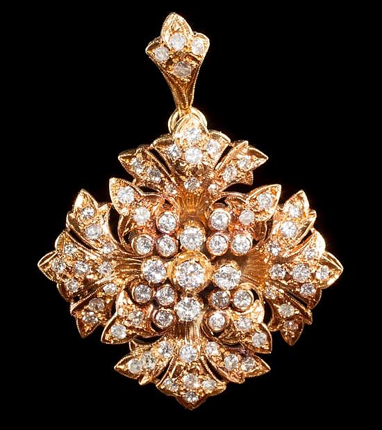 Victorian gold and rose-cut diamond pendant brooch