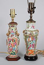 Two Chinese Export Famille Rose vase lamps