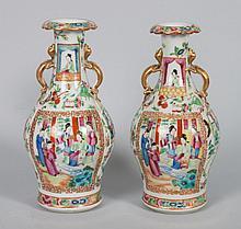 Pr of Chinese Export Rose Mandarin porcelain vases