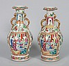 Pr of Chinese Export Rose Mandarin porcelain vases