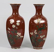 Pair of Japanese cloisonne enamel vases