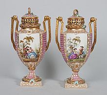 Pair of Dresden porcelain potpourri urns
