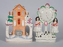 Two Staffordshire earthenware figure groups