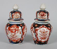 Pair of Japanese Imari porcelain jars