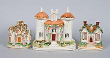 Three Staffordshire earthenware cottages