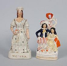 Staffordshire earthenware figure and spill vase