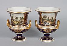 Pair Derby china urns