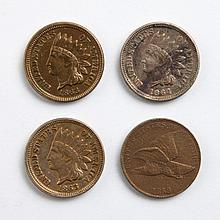 [US] Flying Eagle Cent and Three Indian Head Cents