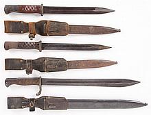 3 German bayonets with scabbards & frogs
