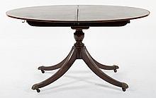 George III style inlaid mahogany dining table