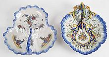 Two French faience bonbon dishes