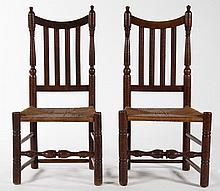 Pair William and Mary tiger maple rush-seat chairs