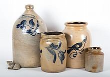 Four salt glazed stoneware storage items