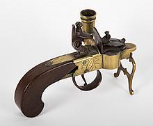 Victorian oak and brass pistol tinder lighter