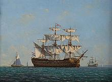 Denzil Smith. Dutch Ships at Harbor, oil