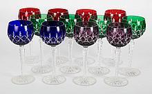Twelve Czecho-Bohemian crystal wine stems