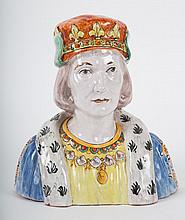 French Faience bust of a king