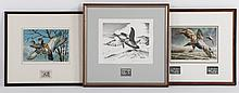Group of seven assorted bird prints with stamps