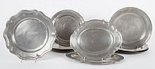 Nine Georgian & American pewter plates