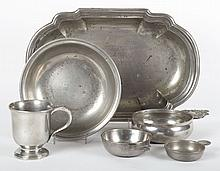 Six assorted English pewter articles
