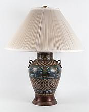 Chinese champleve vase lamp
