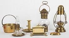 Assorted brass antique lighting and other objects