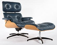 Mid-century modern leather upholstered easy chair